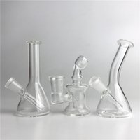 Mini plateaux en verre avec 10mm 14mm Epicateur Recycler Heady Main Bongs Clear Glass Oil Rigs Smoking Water Pipes