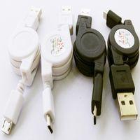 Cable retráctil micro usb cable cable datos cabo Negro Blanco teléfono celular accesorio para Samsung Galaxy S6 S5 S4 Blackberry Nokia x1