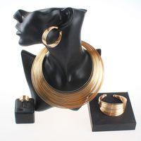 Mode Dubaï plaqué or mariage nigérian perles africaines ouvert manchette collier bracelet boucles d'oreilles bague déclaration parti ensemble de bijoux