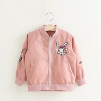 Everweekend Girls Bunny Embroidered Jackets Casual Sweet Chi...