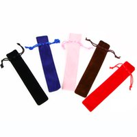 Al por mayor 5 PC / porción terciopelo pluma del sostenedor de una sola pluma del caso de lápiz del bolso con la cuerda para la pluma / fuente / bolígrafo de la bolsa Envío gratuito