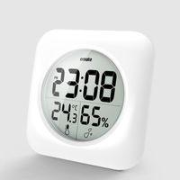 Mode EMATE Temps de douche imperméable de la douche Montre Digital Salle de bain Cuisine Horloge murale Argent Grande température et humidité Affichage
