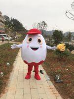 2018熱い販売カスタマイズ赤い帽子の白い卵マスコットチョコレートマスコットの衣装