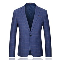Wholesale- 2015 neue Ankunft im italienischen Stil aus Wolle Polyester Männer Viskose Gitter lässige Blazer Hochzeitskleid freies Verschiffen plus Größe M-3XL