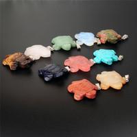 Новый натуральный кварц кристалл карманный камень милый морской черепаха черепаха статуэтки чакра заживление резных драгоценных камней ремесел подвеска повезло подарок 41 * 32 мм