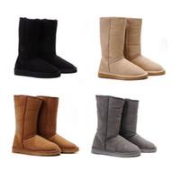 Moda inverno snow boot classico regalo di natale donne calde stivali alti semplici per signore alti scarpe castagna grigio grigio nero di alta qualità