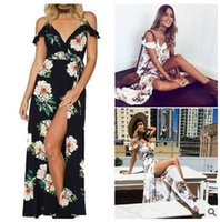 bohemian holiday seaside floral print ruffle long dress Wome...