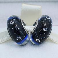 5pcs 925 Sterling Silver Thread Perles de Verre de Murano Effervescence Bleu Minuit avec Clear Cz Fit Pandora European Bracelets de Charme