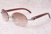 New Round Fashion Retro Confort Diamond Lunettes de soleil T8100903 Sunglasses de miroir en bois naturel Best Lunettes de soleil Taille: 58-18-135mm