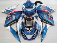 Suzuki% 100 uyum GSXR1000 09 10 11 12 13 14 15 mavi, beyaz enjeksiyon kalıp kaporta kiti GSXR1000 2009-2015 OT32 grenaj