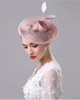2017 nieuwe bruiloft bruids hoed vintage fascinator handgemaakte linnen gaas bloem hoed dame's elegante partij hoofdtooi haaraccessoires