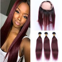 Brazilian 1B 99J Ombre Virgin Hair Bundles With 360 Lace Fro...