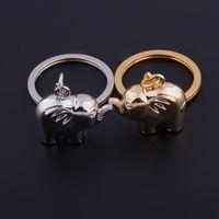 Nya unika älskare metall nyckelring elefant stil nyckelring bröllop favoriserar nyckel par zinklegering nyckelringar 100pcs