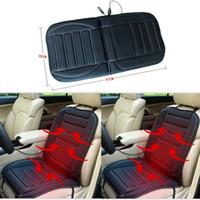 Calefacción de 12 V Fundas de asiento de coche Asientos de automóvil Universal Fit SUV Cojín para silla Cojín negro cálido para el invierno