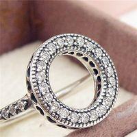 100% S925 стерлингового серебра Европейский Pandora стиль ювелирные изделия сердца Halo с ясно CZ кольцо мода Шарм кольцо