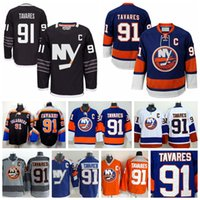 Jerseys de los New York Islanders 2016 John Tavares Jersey de hockey sobre hielo 91 Negro Premier Alternativo Royal Blue Cross Check Series