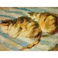 Dekorative moderne Gemälde Tier Franz Marc Zwei graue Katzen Kunst für Wanddekoration handgemaltes Öl auf Leinwand