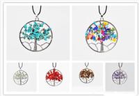 Neuester Frauen-Regenbogen-7 Chakra Amethyst Baum des Lebens Quarz-Chips-Anhänger-Halskette Mehrfarben Wisdom Tree Naturstein Halskette