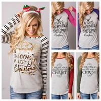 Noel T Shirt Elk Noel Geyik Gömlek Kadın Xmas Xmas Mektup Çizgili Tees Tops Casual Noel Baba Bluz Moda Uzun Kollu Gömlek LD21