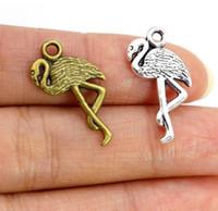 Винтажный стиль бронзовый серебряный цинковый сплав фламинго кран птица подвески ожерелье кулон для изготовления ювелирных изделий 24x10mm