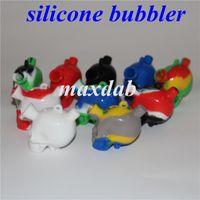 Нерубленный тупой пузырь Cokah Cokah SiliCon Smart Mini Travel Bubblers Bubblers Higarette Filter Стеклянная водяная труба силиконовые трубы Bong