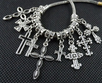 100PCS mixed Tibetan Silver alloy Cross Charms Pendant Dangl...