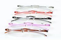 (10 pçs / lote) venda Quente óculos de leitura de plástico sem aro leitor de resina óculos de leitura ultra-leve de +1.0 a +3.0 várias cores