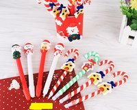 Candy Cane Pen Christmas party dolls polymer clay ballpoint pens children kids prize festive XMAS birthday back to school Favor gift