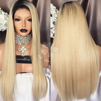 Top Quality Silky Straight Synthetic Lace Front Wig Ombre Bl...