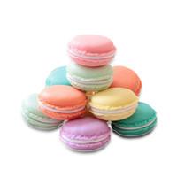 10 قطع جولة لطيف كعكة أقراط الطوق اللؤلؤ قلادة عرض الحالات متعدد الألوان شطيرة معكرون تغليف المجوهرات علب الهدايا