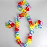80 Conjuntos Conjunto Havaiano Flor Lei Fower Pulseira Flor Headband, Hula Luau Conjunto Vestido Extravagante Para A Festa de Dança Crianças Frete Grátis