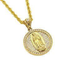 Männer Frauen Jungfrau Maria Anhänger Hip Hop Schmuck Iced Out Bling Bling Strass Kristall Gold Farbe Anhänger Halskette Kette