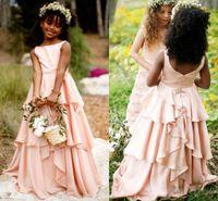 2018 Allık Yeni Güzel Bahçe Çiçek Kız Elbise Düğün İçin Ekip Boyun Katmanları Etekler Çocuk Tutu İlk Communion Doğum Günü Gelinlik