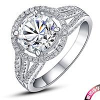 Edlen Schmuck 2CT Bonzer Qualität Synthetischer Diamant Ring Sterling Silber Weißes Gold Überzogen für Frauen Hochzeit Trendy S925 Schmuck
