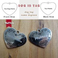 En gros Laser gravure kirsite en acier inoxydable peut être personnalisé tag mode coeur pointu chien graver lettrage id tag