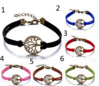 Estilo europeu simples artesanal de couro genuíno infinito pulseiras envolve árvore do vintage da vida pulseiras jóias Mix Cor