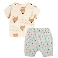 Kinder Anzug Eurestyle Neue Sommer Baumwolle Anzug Baby Cheres Fox Drucken Kurzarm T-Shirt + Shorts 2 stücke B4761