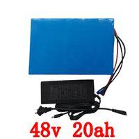 Большая емкость 48 вольта батареи 48V 20Ah Li ионная аккумуляторная батарея для электрических велосипедов с ПВХ случае Встроенной 13S 30А BMS + 2A CC / CV зарядного устройства