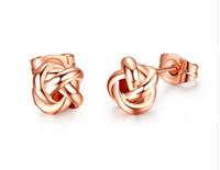 Rose Gold Farbe Klassisches Design Liebe Knoten Post Ohrstecker Boucle D'oreille JE0140A