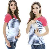 Venta al por mayor- Moda Mujeres Maternidad Ropa de amamantamiento de hielo Seda de hielo Vida de verano Imprimir Enfermería Top / camisetas