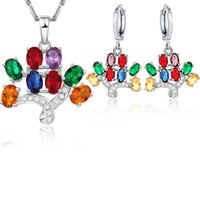 Jewelry Set 18K Yellow Gold Plated 925 Silver Plated Colorful CZ Tree Earings Necklace for Women for Party Wedding JNST1029