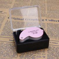 MG21011 di ingrandimento Loupe 40X 25 millimetri 40x25mm 40 x 25 gioielliere LED Light Glass Magnifier all'ingrosso Dropshipping Nuovo argento nero rosa