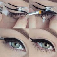 Sıcak satış 110 Adet 2 Stilleri Güzellik Kedi Eyeliner Modelleri Smokey Göz Stencil Şablon Şekillendirici Eyeliner Makyaj Aracı