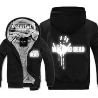 Светоотражающие костюмы Ходячие мертвецы толщина толстовки для взрослых бархат Бейсбол черный кофты мужчины зимняя куртка пальто со шляпами