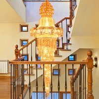 Dimmable Crystal Chandeliers Led Chandelier Lights Luxury Modern Villas Hotell Trappor Dubbel Duplex Led Led Crystal Lights Clandelers