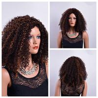 Xiu Zhi 메이 20 인치 아프리카 킨키 곱슬 가발 섹시한 아프리카 계 미국인 흑인 여성의 머리 갈색 합성 가발 코스프레 변형 된 아프리카 가발