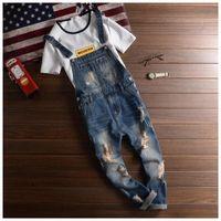 Toptan-2016 Moda Markalar Yırtık Kot Önlüğü Tulum Erkekler Slim Fit Skinny Jeans Adam Rahat Yıkanmak Yıkanmış Denim Tulumlar Kot Pantolon
