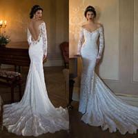 2020 Nouvelle sirène robes de mariée manches longues épaules de dentelle Robes de mariée Vestios De Novia Robes de mariée avec 381 See Through Retour