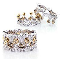 Taglia 6/78/9 I più venduti 40% di sconto Gioielli di lusso in argento sterling 925 White Sapphire CZ Crystal Party Retro Diamond Women Wedding Crown Ring