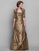 Unverwechselbare A-Linie New Mother of the Bride Kleid Wrap Enthalten Bodenlangen Halbarm TüllTaft mit Applikationen
